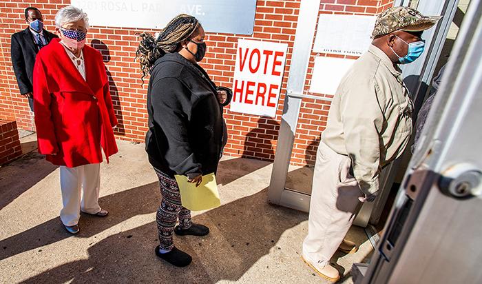 Alabama Gov. Kay Ivey in line to vote