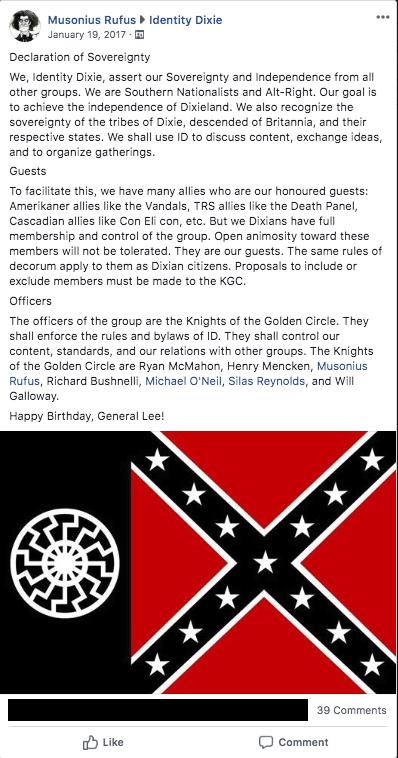 "Identity Dixie ""Declaration of Sovereignty"""