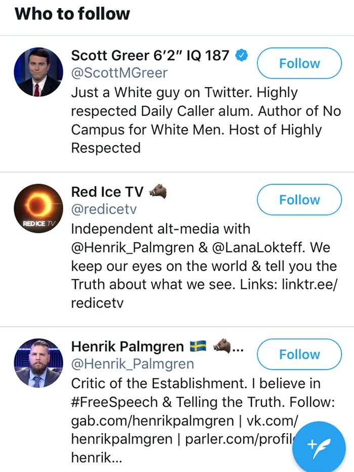 'Who to follow' suggestions on Twitter