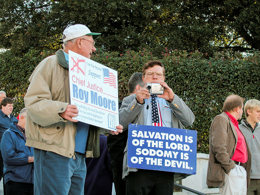 Roy Moore supporters at a rally, 2002.