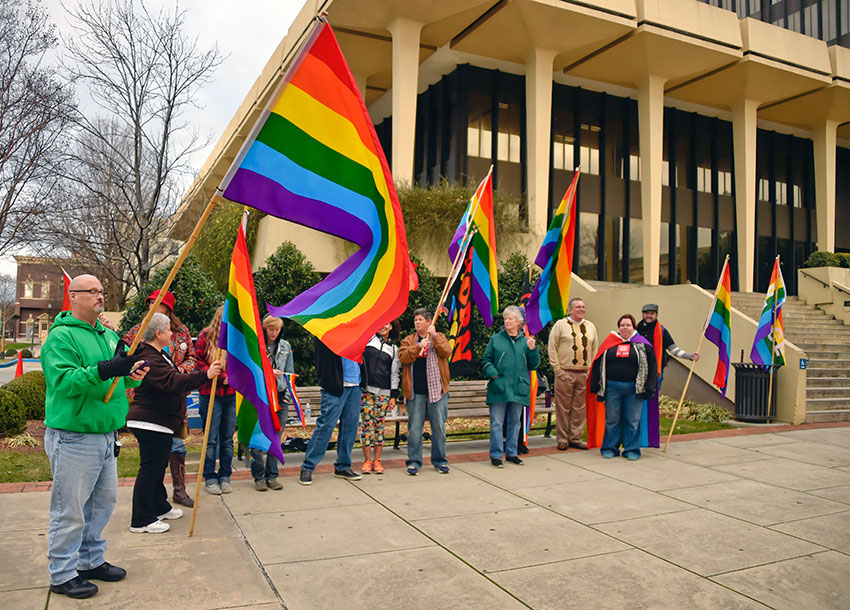 Marriage equality supporters rally in Huntsville, Ala.