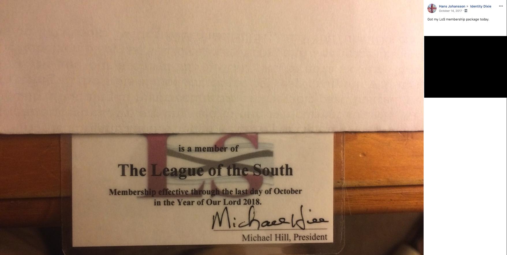 League of the South membership card