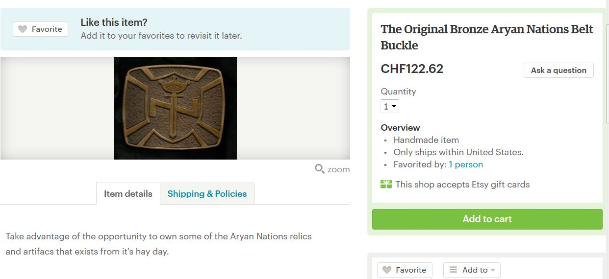 Aryan Nations Belt Buckle on Etsy