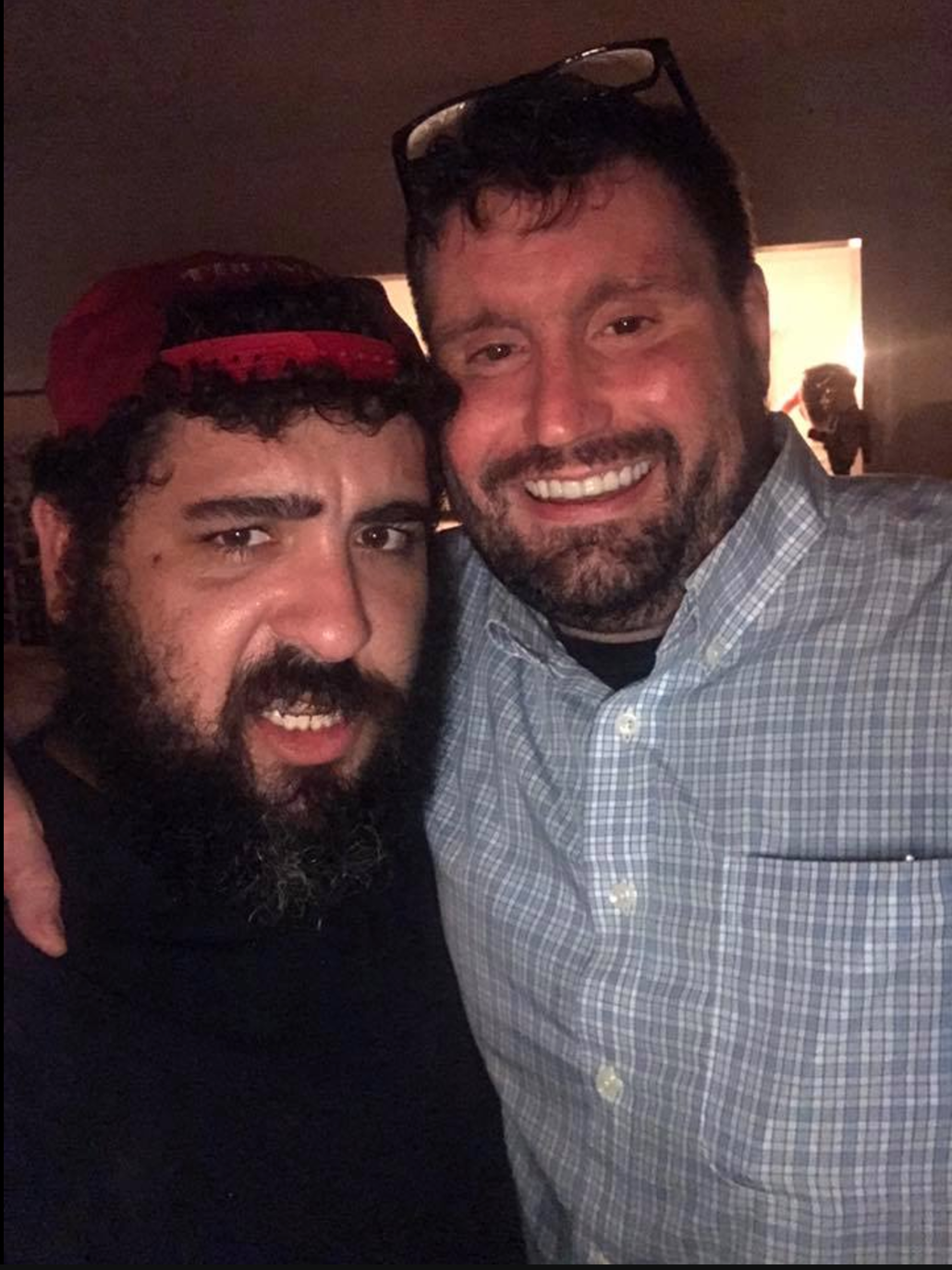 "Proud Boy Sal Cipolla cuddling with Mike ""Enoch"" Peinovich."