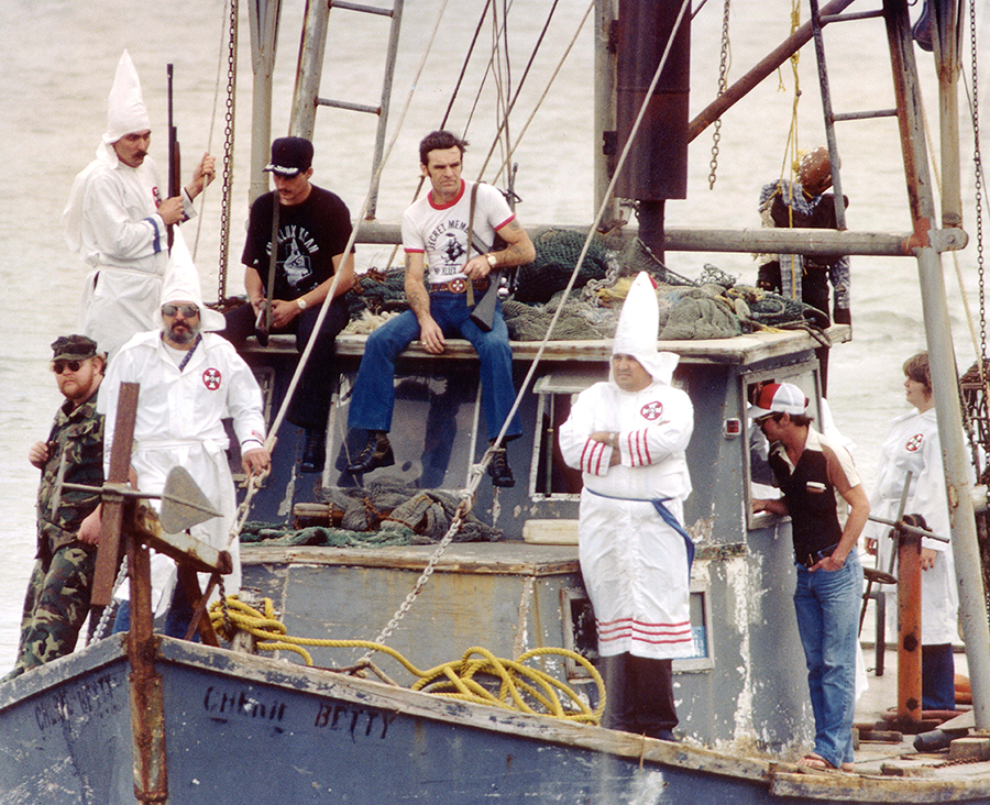 A Klan terror campaign against Vietnamese fishermen in Texas ends and Klan paramilitary training bases are shut down as part of an SPLC lawsuit, Vietnamese Fishermen's Association v. Knights of the Ku Klux Klan.