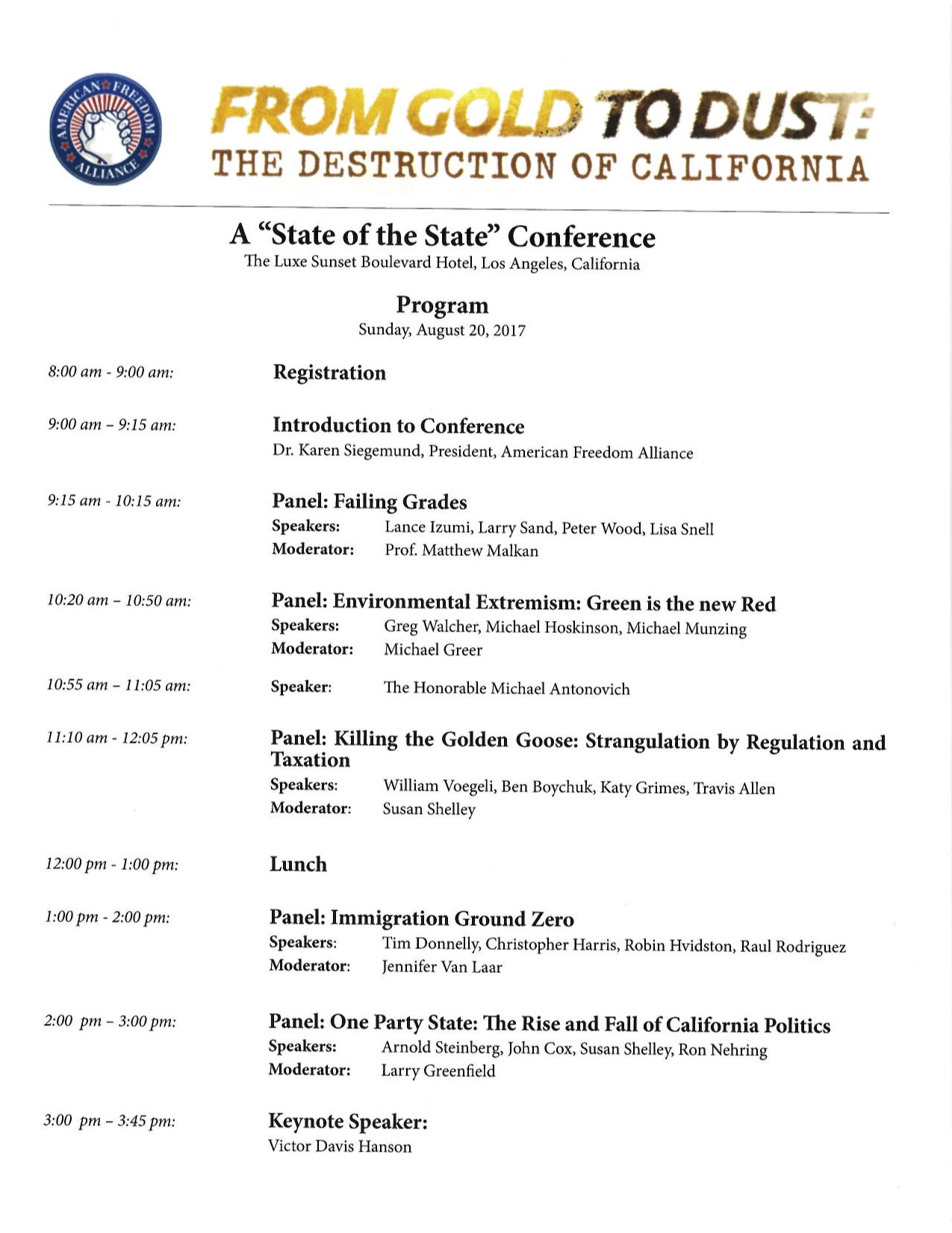 "The American Family Association's ""From Gold To Dust: The Destruction of California"" agenda."