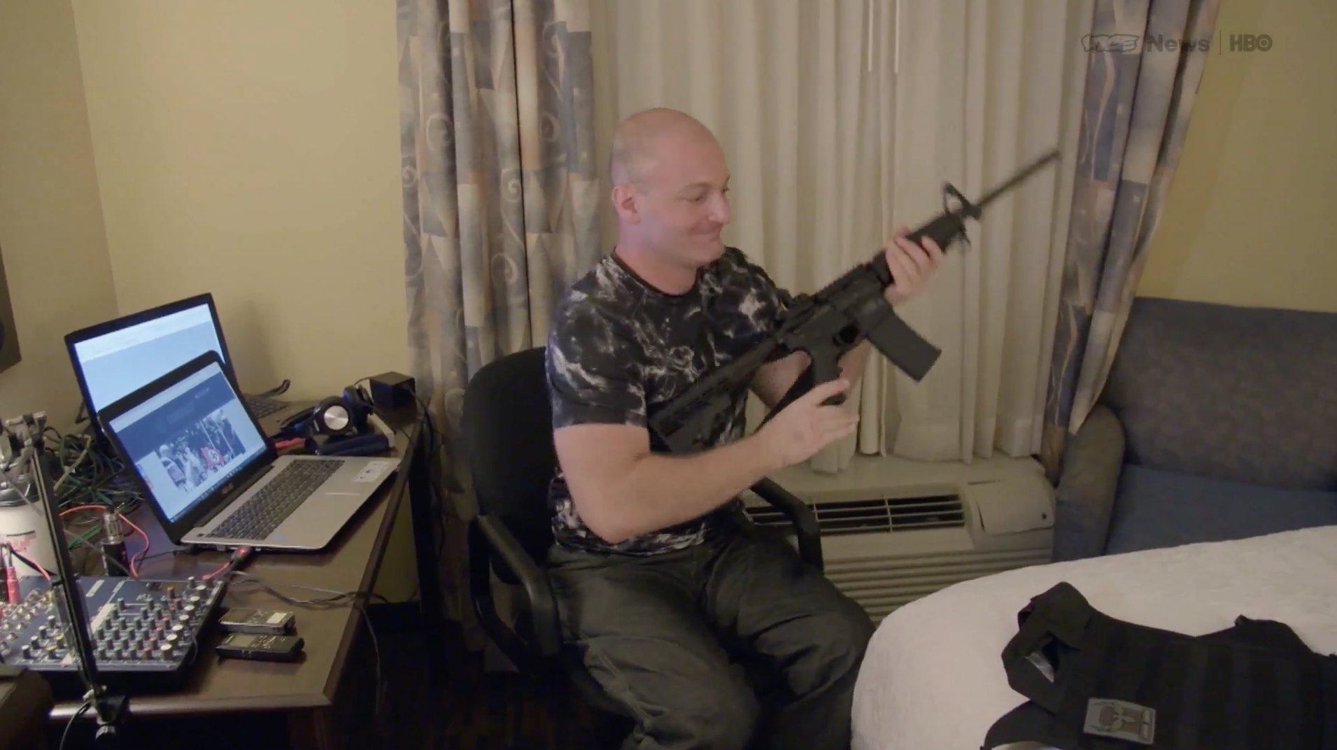 Christopher Cantwell shows VICE the arsenal he brought with him to Charlottesville. (Credit: VICE Media)
