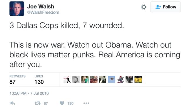 Former congressman Joe Walsh's tweet the night of the Dallas attack