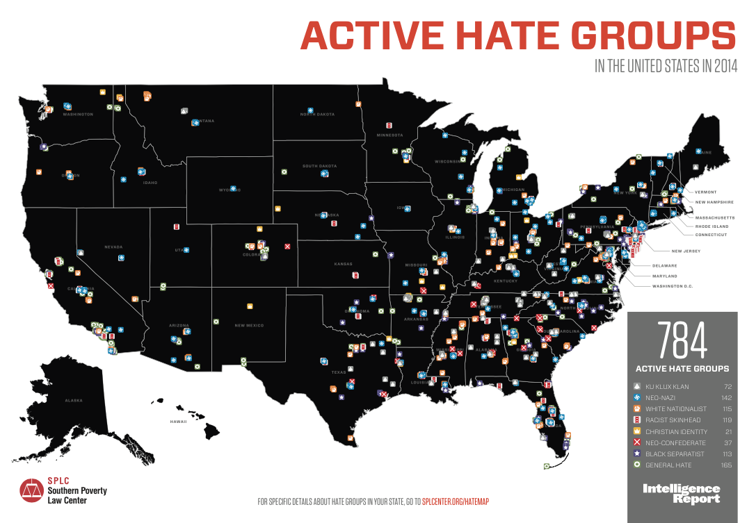 The Year In Hate And Extremism Southern Poverty Law Center - Us Polls Map Of Country