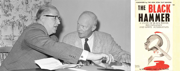 Ezra Taft Benson and President Dwight D. Eisenhower, cover of The Black Hammer