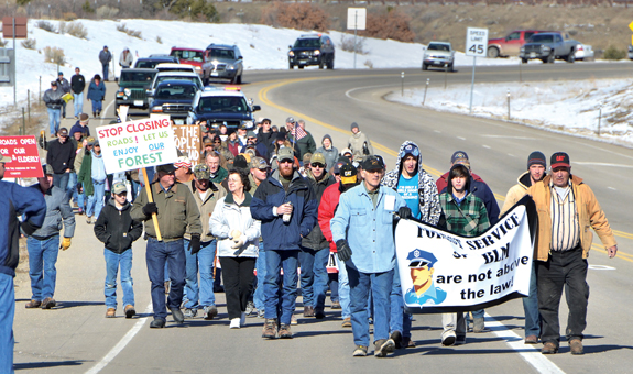 Forest Service protest march