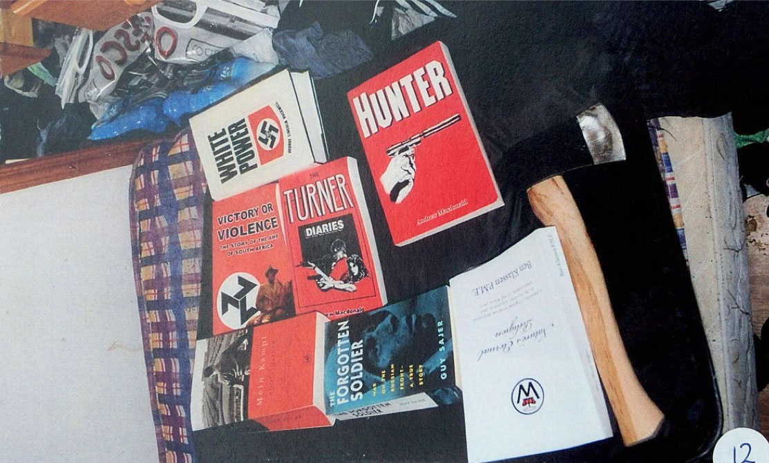 National Alliance books recovered by police from the home of Zack Davies
