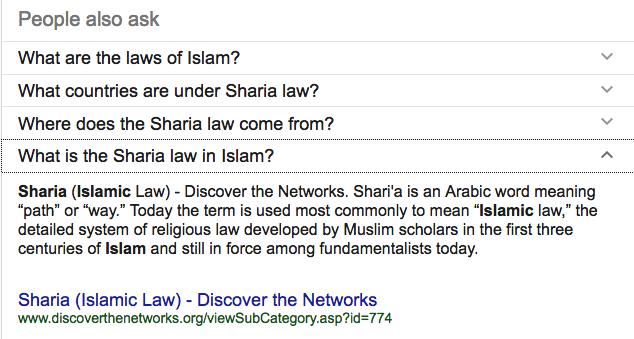 Searching Sharia Anti Muslim Propaganda Ranks High In Google Search