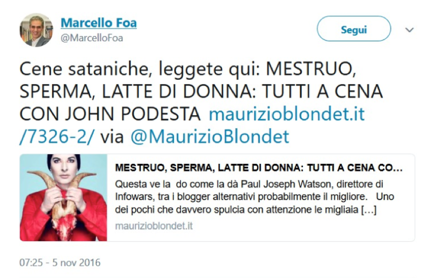 Marcello Foa's tweet