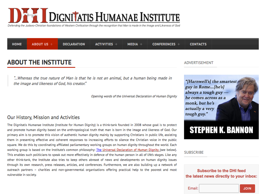 Dignitatis Humanae Institute screenshot