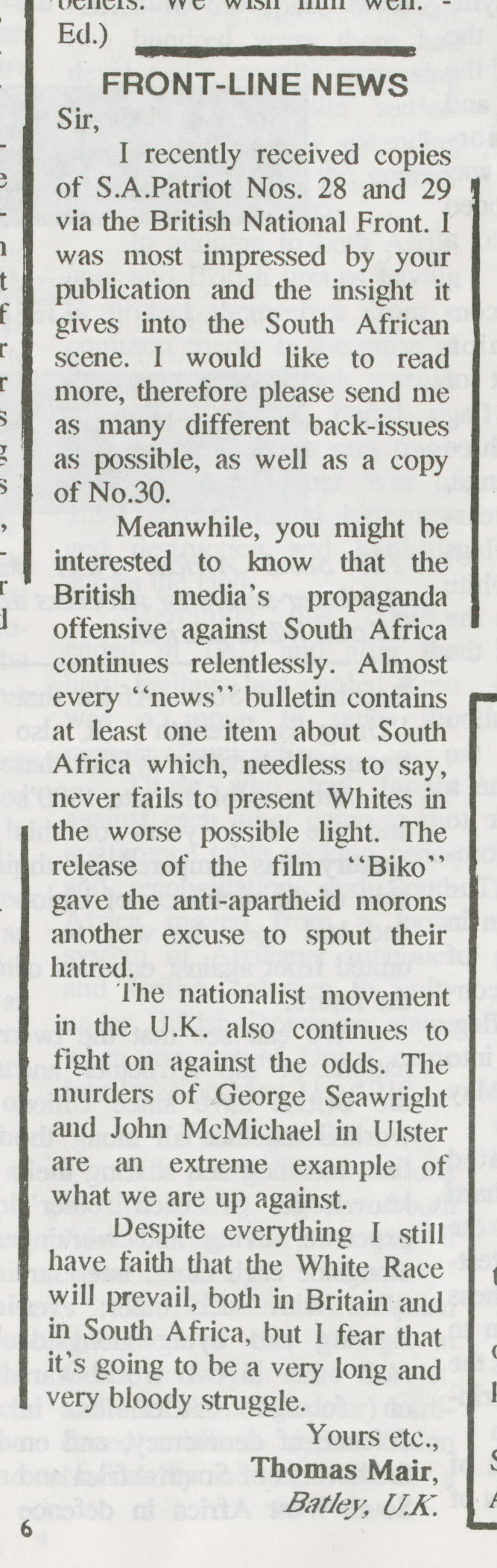 "From ""South African Patriot in Exile"" Issues 30-32 from 1991"