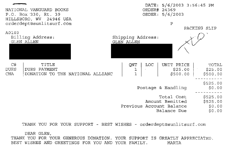 Receipt for National Alliance dues payment and donation made by Glen Allen.