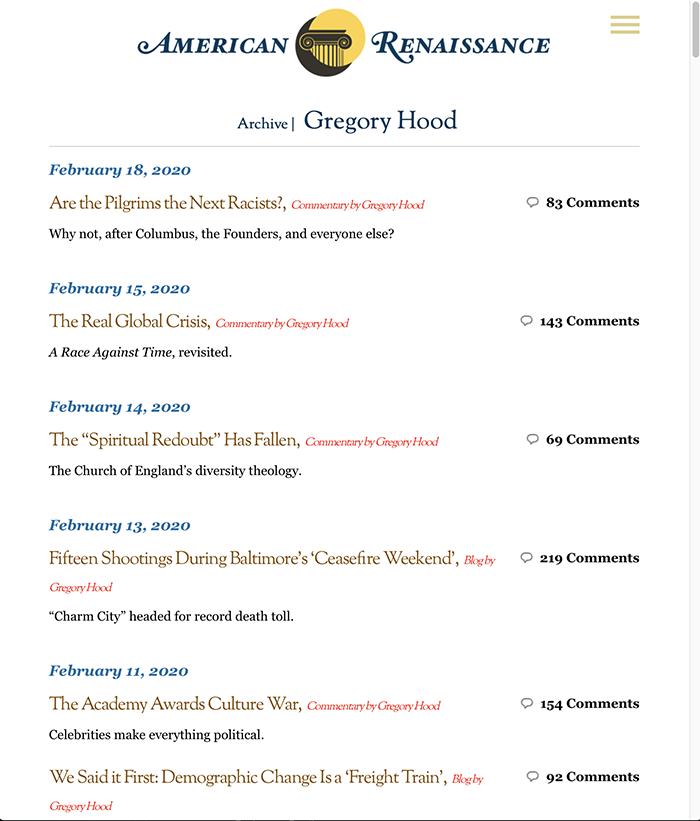 Gregory Hood AmRen articles