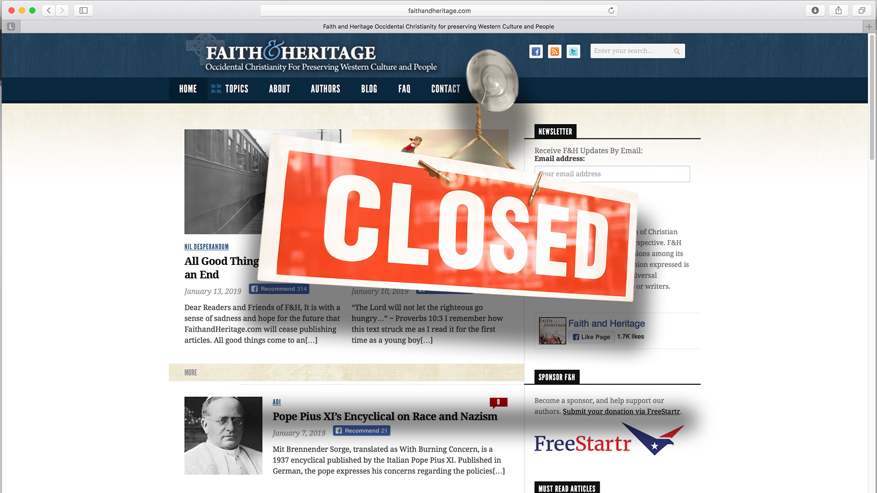 Racist Website Faith And Heritage Is Closing Up Shop Southern