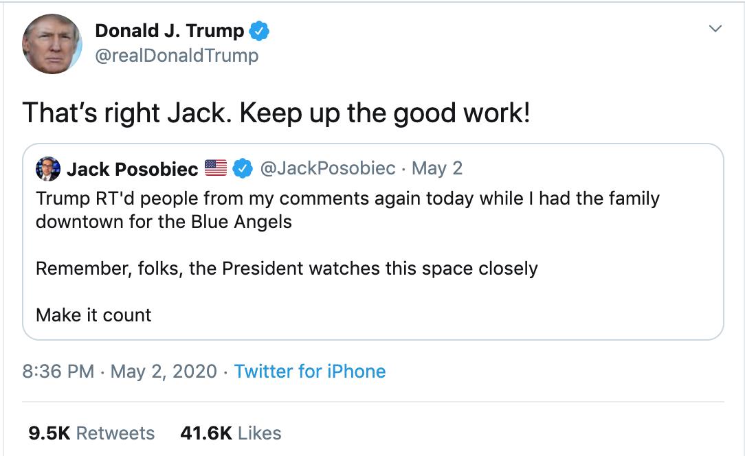 May 2, 2020, Trump tweet
