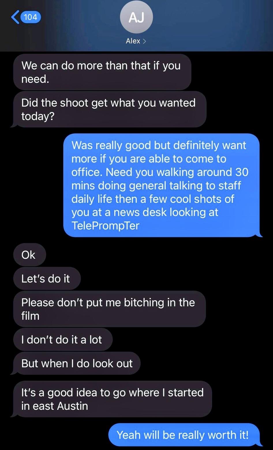 Alex Jones texts with Robertson