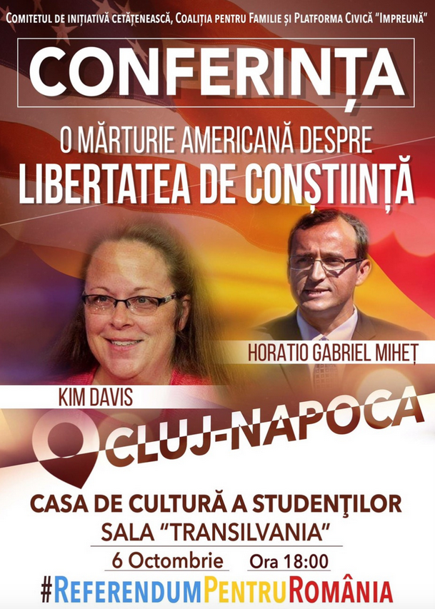 Poster advertising Kim Davis and the Liberty Counsel's Harry Mihet, appearing at an October 6 conference in Romania.