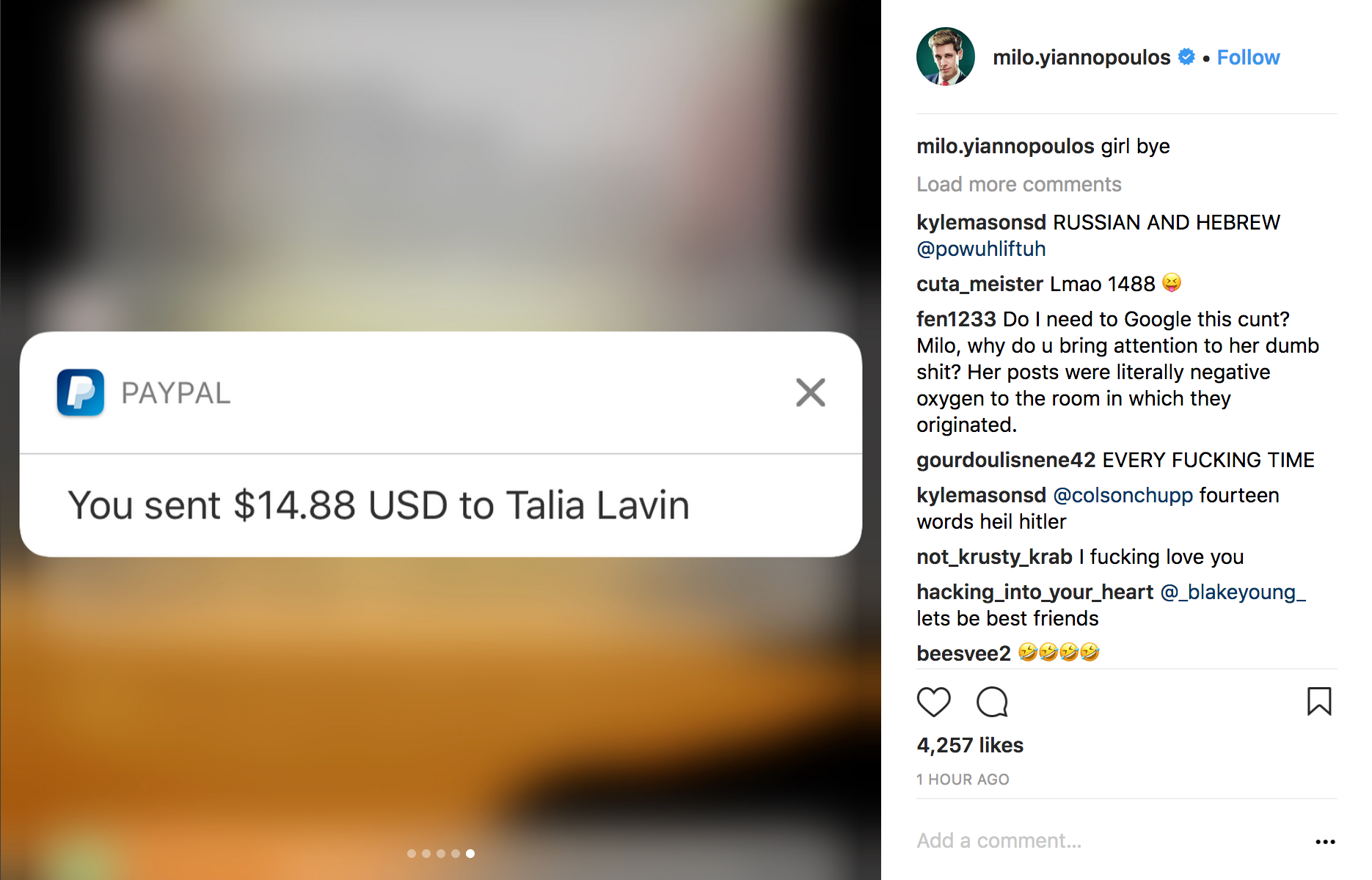 Instagram post by Milo Yiannopoulos showing he sent a Jewish journalist $14.88 via PayPal
