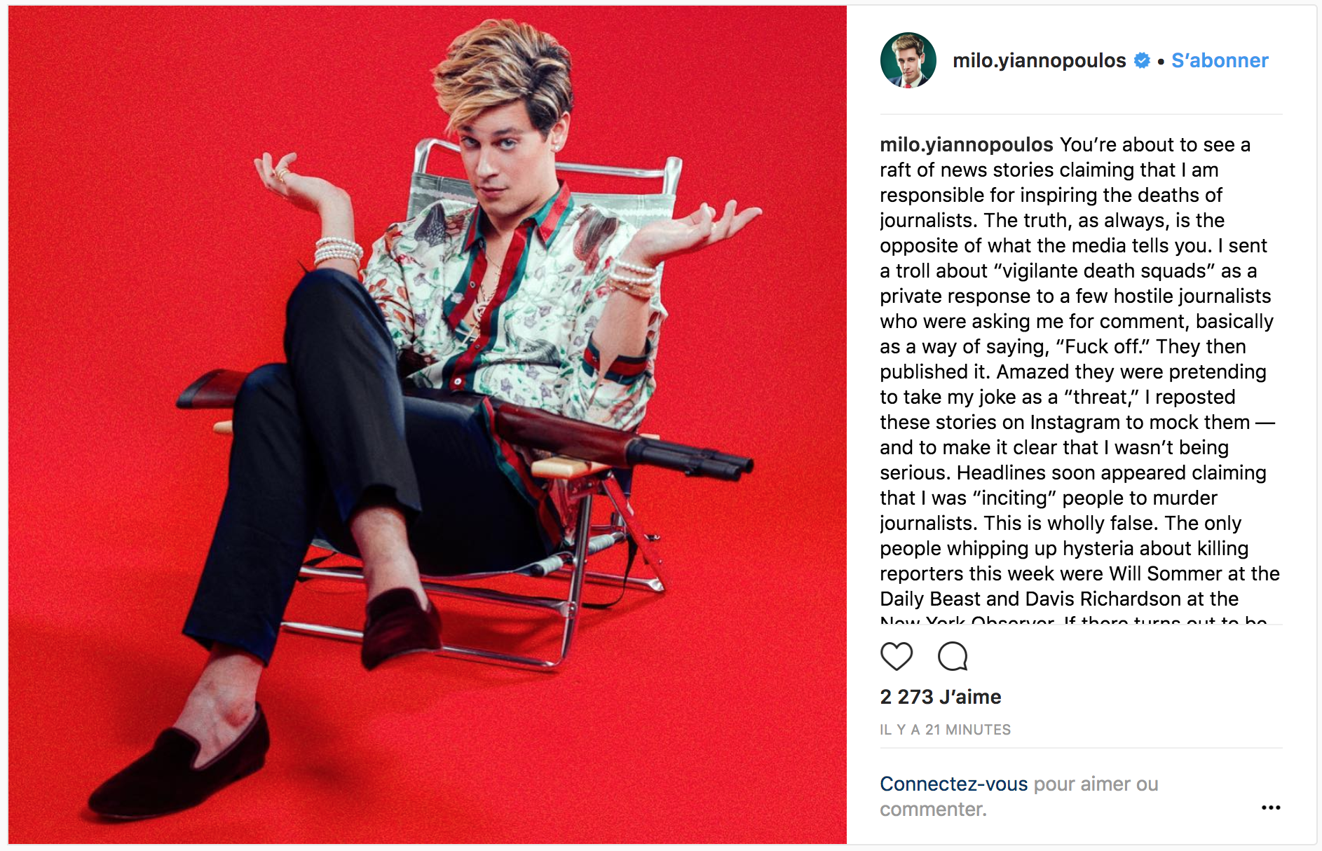 Instagram post by Milo Yiannopoulos reacting to Maryland newspaper shooting