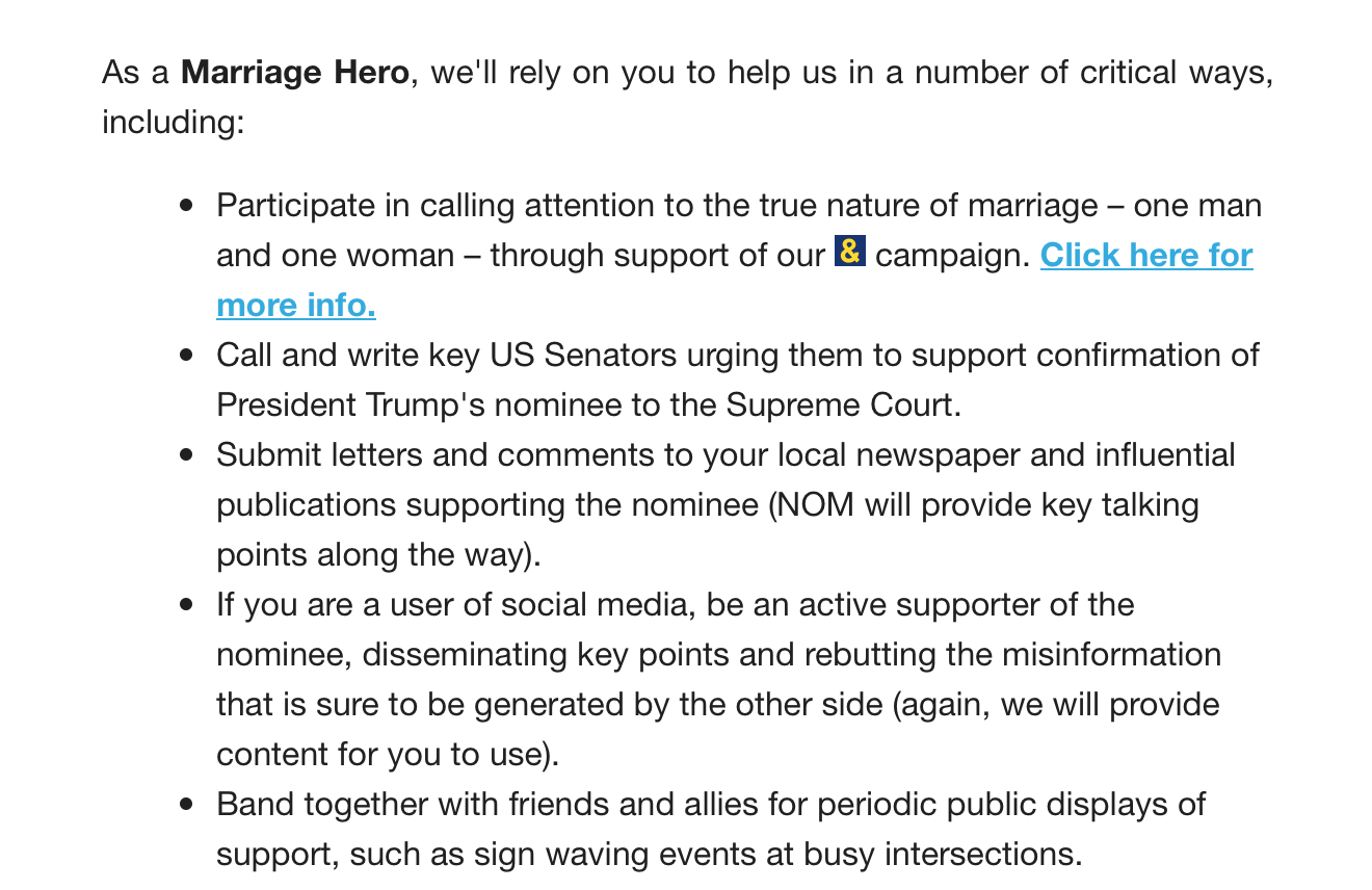 NOM's Marriage Heroes campaign list of things to do as a supporter