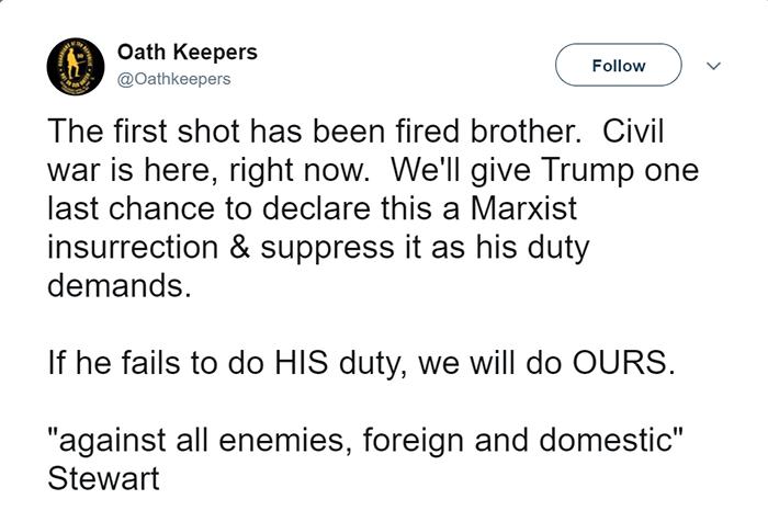 Oath Keepers tweet