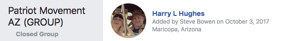 Neo-Nazi Harry Hughes shown in private Patriot Movement AZ Facebook group