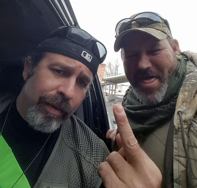 Vance (right) poses with Pete Santilli, a well-known antigovernment mouthpiece who was among those charged with conspiracy and other crimes following the armed occupation of the Malheur National Wildlife Refuge near Burns, Ore.