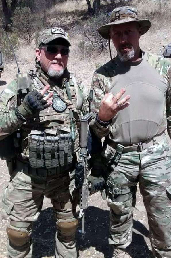 "Brian ""Geezer"" Henderson (left) with Jerry ""Ghost"" Karl on a border operation."