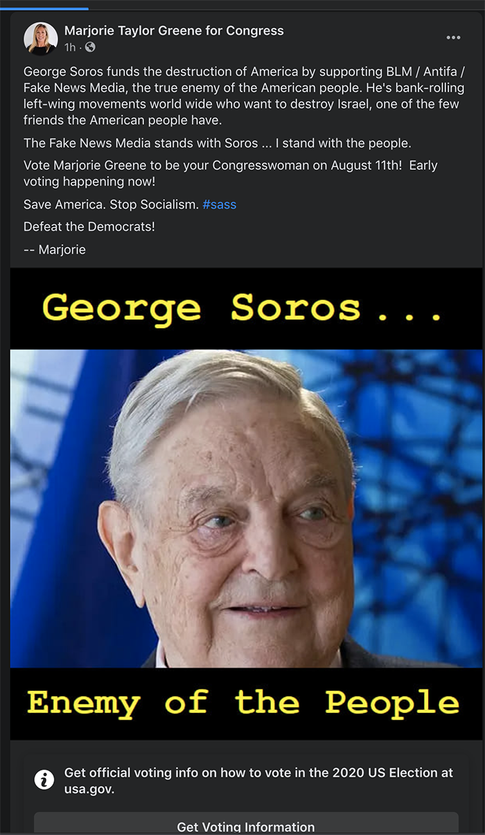 Greene post about Soros