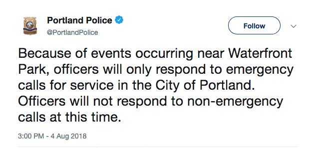 Portland Police tweet