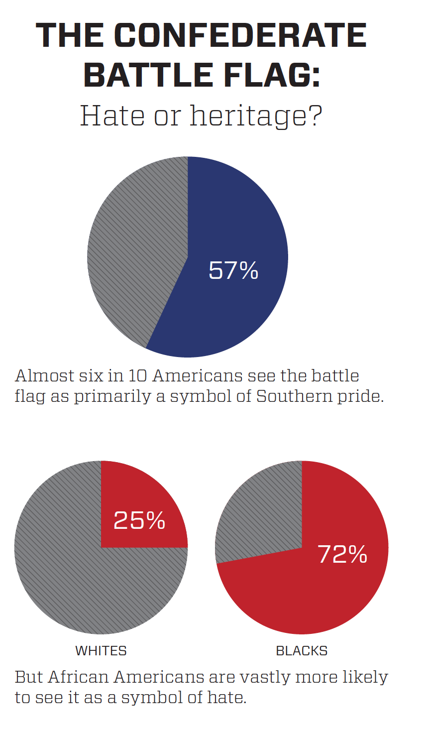 The Confederate Battle Flag: Hate or heritage charts