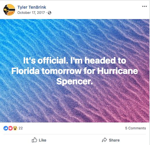 Tyler TenBrink's Facebook post on Oct. 17, 2017