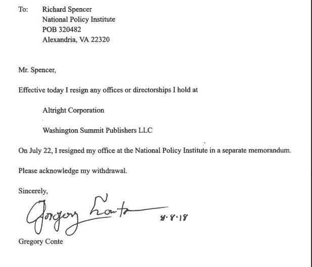 Greg Conte's resignation