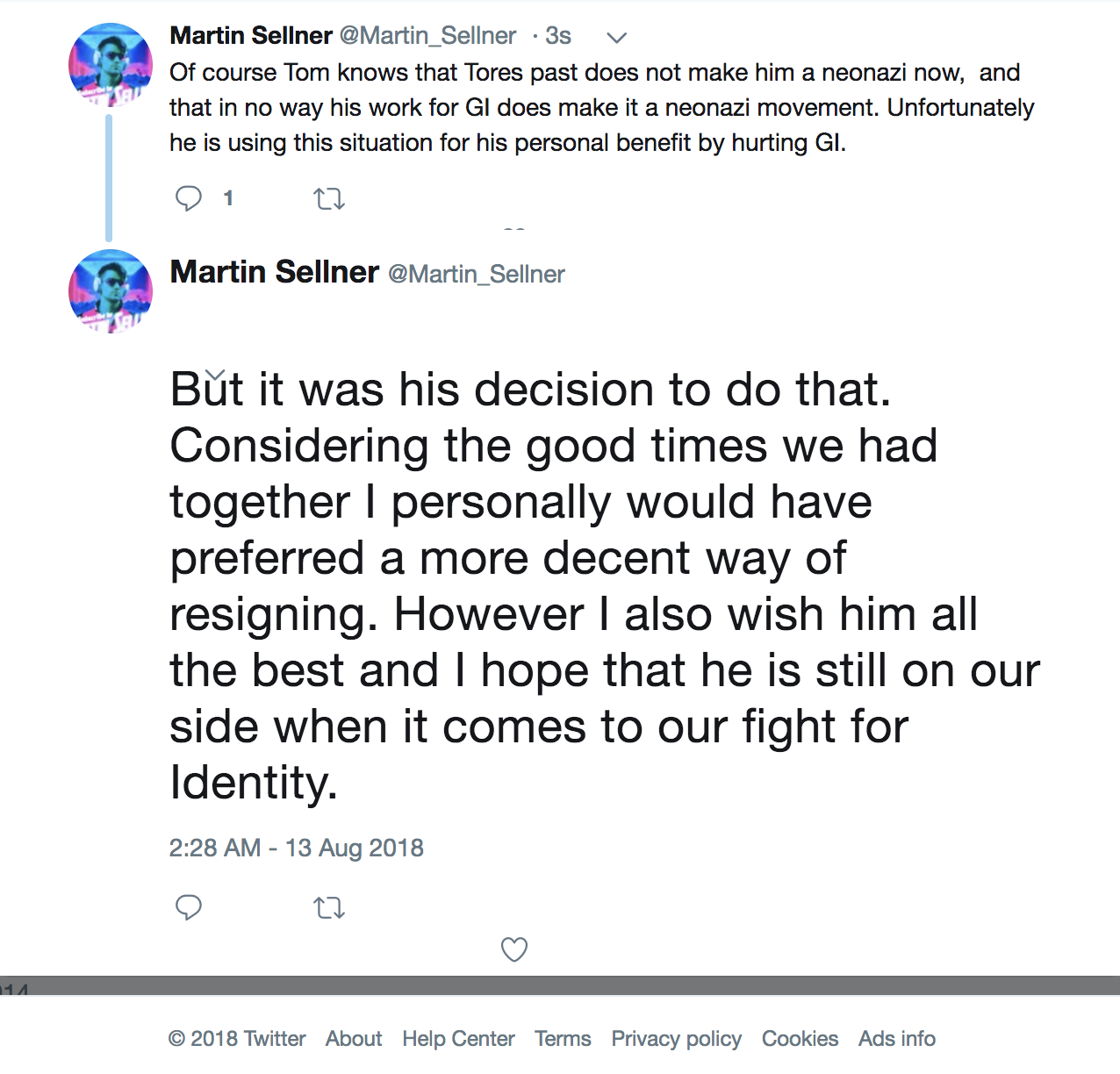 Martin Sellner tweet