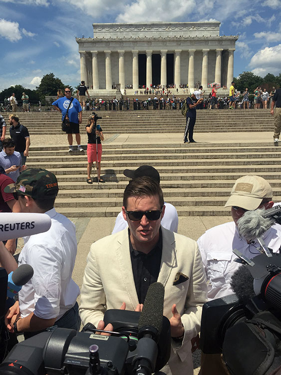 White Nationalist and Alt-Right figurehead Richard Spencer at the Lincoln Memorial.