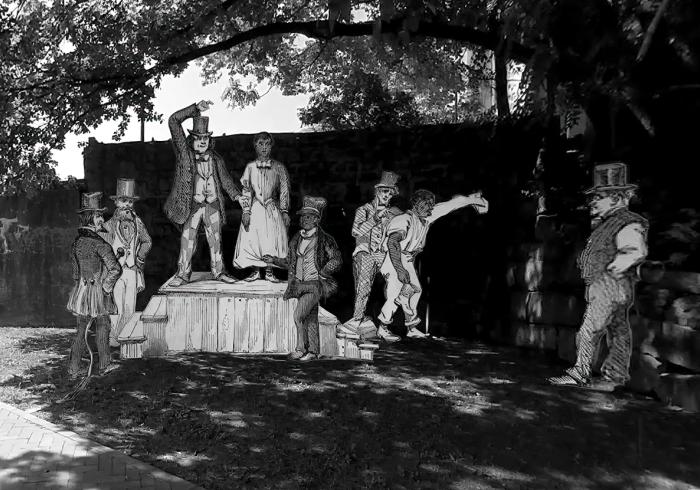 recreation of slave auction site