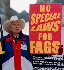 Fred Phelps with sign