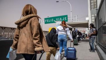 Migrants at a border crossing