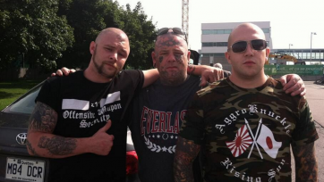(left to right) John Young; Jocke Karlsson, formerly of neo-Nazi band Pluton Svea; Raphael Levesque of Rock Against Communism band Legitime Violence.