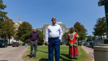 Three community activists who advocated for the removal of the Confederate Brig. Gen. J.J. Alfred A. Mouton statue