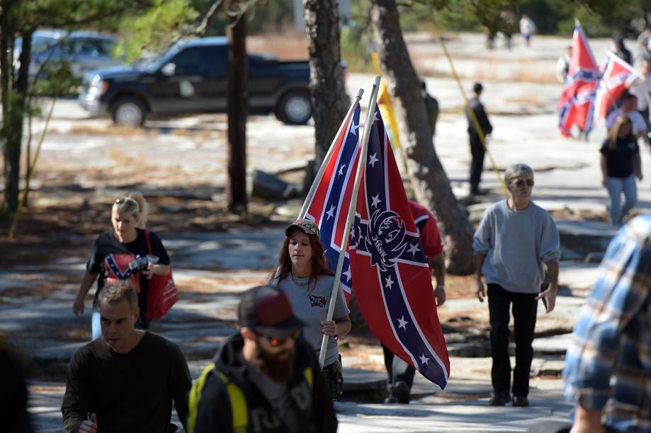 Tara Brandau at a CSA II: The New Confederate States of America rally in Stone Mountain, Georgia. Photo courtesy of the Atlanta Journal-Constitution.