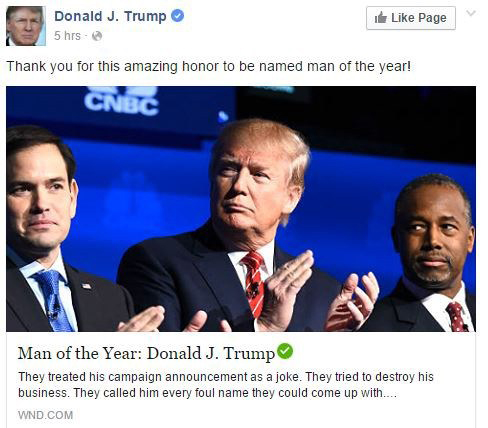 "Trump named WND ""Man of the Year"""