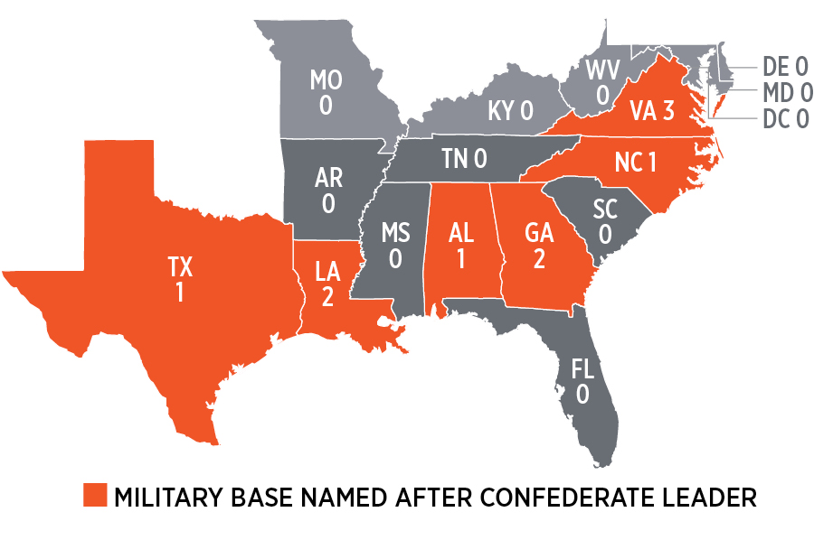 Whose Heritage Public Symbols Of The Confederacy Southern - Us military installation road map